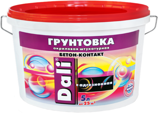 Грунтовка Dali Бетон-контакт Адгезионная акриловая штукатурная для слабовпитывающих поверхностей 3.5 кг
