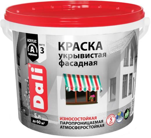 Dali краска укрывистая фасадная износостойкая паропроницаемая (5 л) супербелая