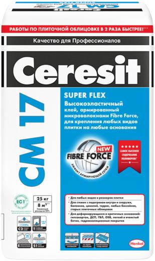 Ceresit CM 17 Super Flex клей для плитки высокоэластичный для наружных работ (25 кг)