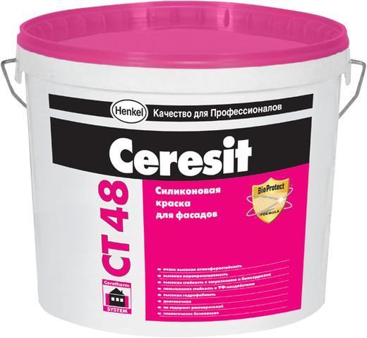 Краска Ceresit Ct 48 силиконовая для фасадов 15 л белая