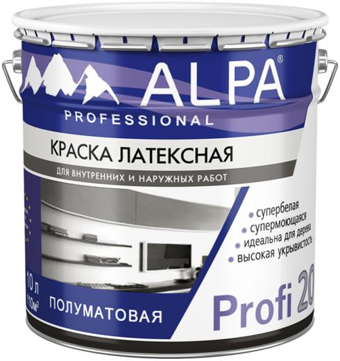 Alpa Profi 20 краска латексная супермоющаяся супербелая (9.06 л) бесцветная