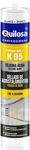 Quilosa Orbasil K95 кислотный уксусный силиконовый герметик для остекления (280 мл) бесцветный