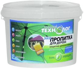 Главный Технолог Защитно-декоративная эко-пропитка для дерева (1 кг) рябина