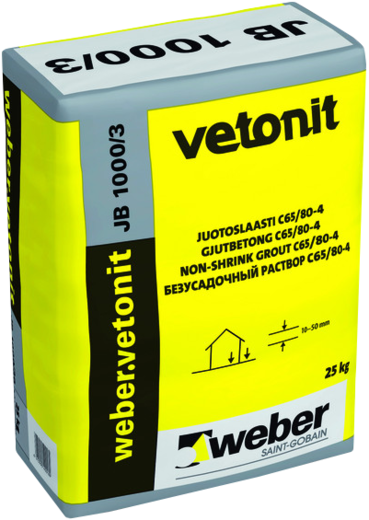 Вебер Ветонит JB 1000/3 безусадочный жидкий быстротвердеющий раствор (25 кг)