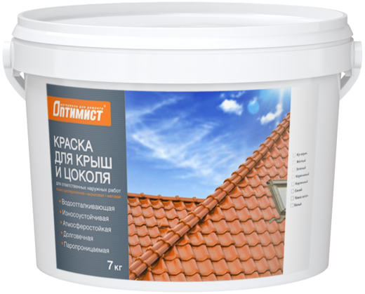 Оптимист F 304 краска для крыш и цоколя для ответственных наружных работ (7 кг) белая