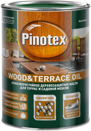 Пинотекс Wood &Terrace Oil атмосферостойкое деревозащитное масло (2.7 л) бесцветное