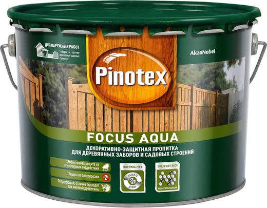 Пинотекс Focus Aqua декоративно-защитная пропитка для деревянных заборов и садовых строений