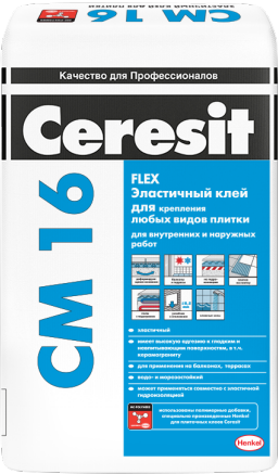 Ceresit CM 16 Flex клей для плитки эластичный для внутренних и наружных работ (25 кг)