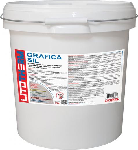 Литокол Litotherm Grafica Sil силиконовая штукатурка с эффектом короед (25 кг) зерно 2 мм