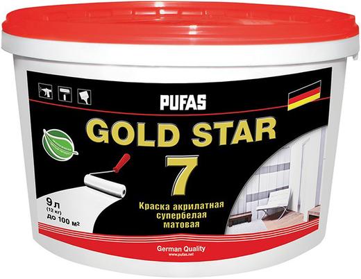 Пуфас Gold Star 7 краска акрилатная супербелая матовая (2.7 л) супербелая