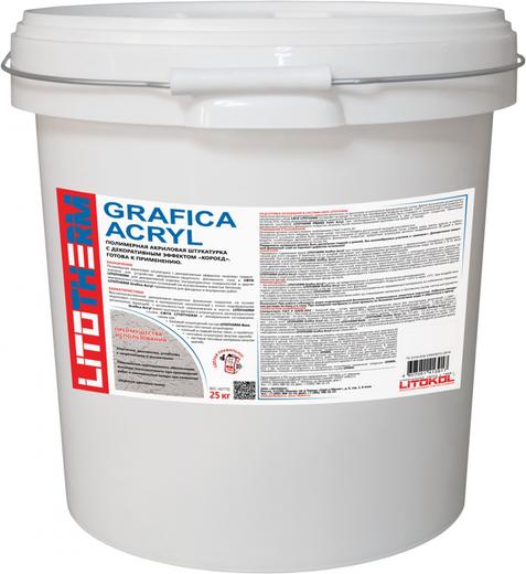 Литокол Litotherm Grafica Acryl фасадная акриловая штукатурка с эффектом короед (25 кг) зерно 1.5 мм
