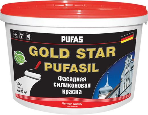 Пуфас Gold Star Pufasil фасадная силиконовая краска (10 л) белая лотос (самоочищение во время эксплуатации)