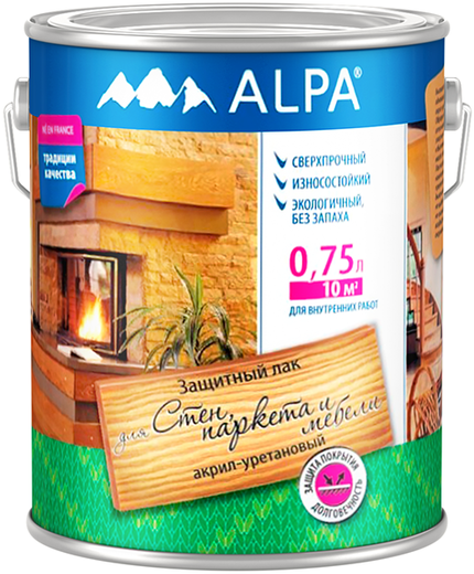 Лак Alpa Для стен, паркета и мебели защитный акрил-уретановый 750 мл глянцевый
