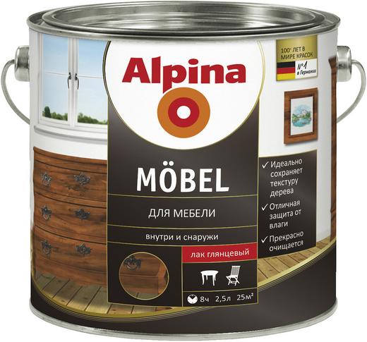 Лак Alpina Mobel для мебели 2.5 л шелковисто-матовый