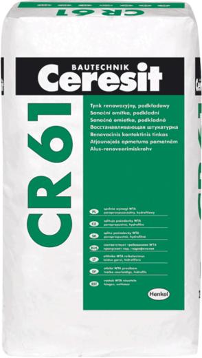 Ceresit CR 61 восстанавливающая штукатурка санирующая предварительная (25 кг)