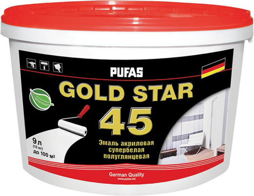 Пуфас Gold Star 45 эмаль акриловая супербелая полуглянцевая (9 л) супербелая