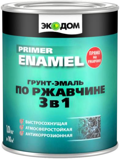 Грунт-эмаль по ржавчине 3 в 1 ЭкоДом Primer Enamel (10 кг) белый