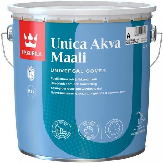 Тиккурила Уника Аква Маали акрилатная краска для дверей и оконных рам (2.7 л) белая