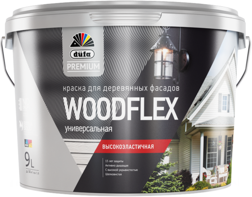 Dufa Premium Woodflex краска для деревянных фасадов универсальная высокоэластичная (9 л) белая