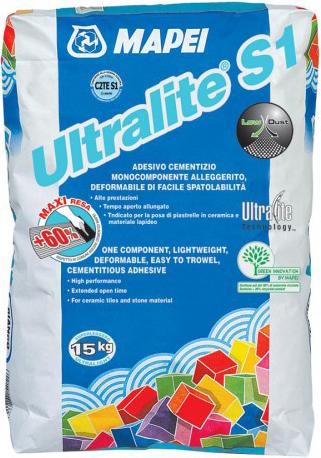 Mapei Ultralite S1 клей для плитки (15 кг) серый