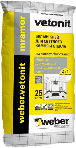 Вебер Ветонит Mramor белый клей для светлого камня и стекла (25 кг)