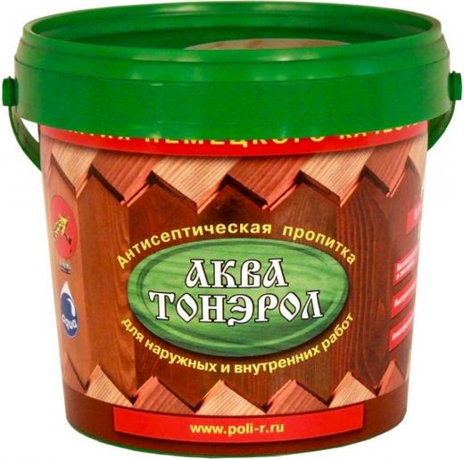 Пропитка Поли-Р Аква тонэрол антисептическая для дерева акриловая 900 мл каштан