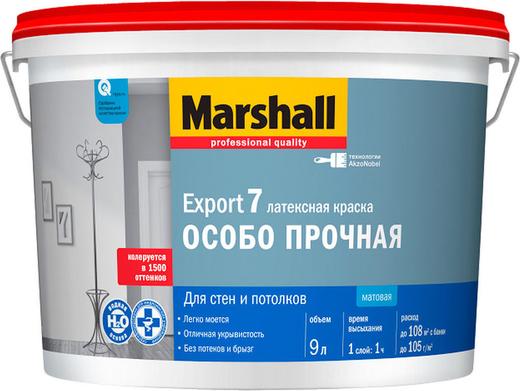 Marshall Export-7 латексная краска особо прочная для стен и потолков (9 л) бесцветная