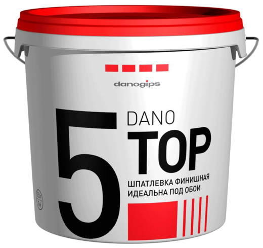 Шпатлевка Danogips Dano top 5 финишная идеальна под обои 5.6 кг