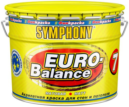 Финкраска Симфония Euro-Balance 7 акрилатная краска для стен и потолков (3 л металл) белая