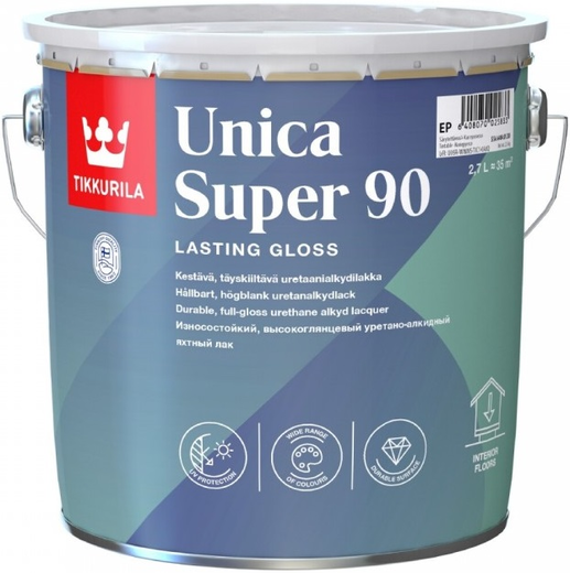 Тиккурила Уника Супер 90 износостойкий уретано-алкидный лак глянцевый универсальный (9 л)