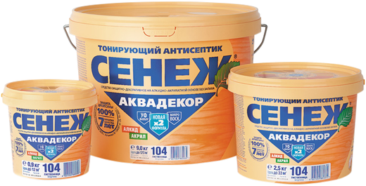 Сенеж Аквадекор тонирующий антисептик на алкидно-акрилатной основе (900 г) иней