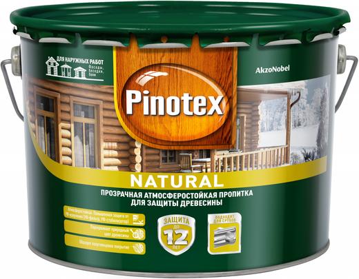 Пинотекс Natural прозрачная атмосферостойкая пропитка для защиты древесины (9 л) натуральная