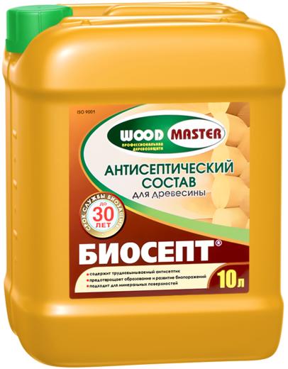 Раствор Woodmaster Биосепт базовая трудновымываемая защита древесины 5 л готовый
