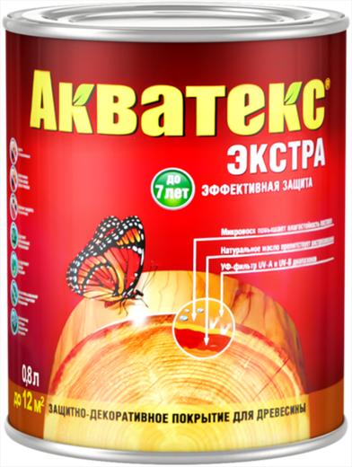 Покрытие Акватекс Экстра защитное текстурное древесины 800 мл калужница