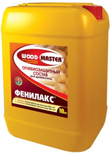 Woodmaster Фенилакс огнебиозащитный состав для древесины (11 кг) золотисто-коричневый