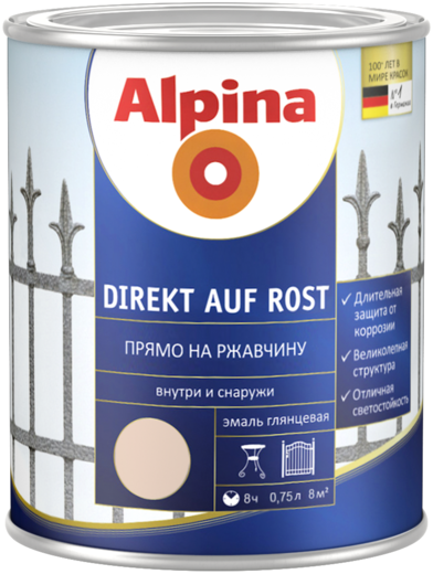 Эмаль Alpina Direkt auf rost прямо на ржавчину 750 мл серая