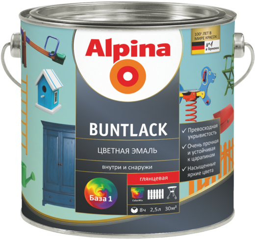 Alpina Buntlack цветная эмаль для дерева и металла (713 мл) белая глянцевая