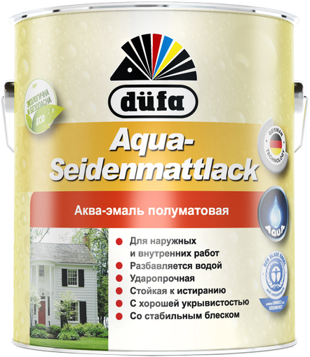 Аква-эмаль полуматовая Dufa Aqua-seidenmattlack 750 мл белая