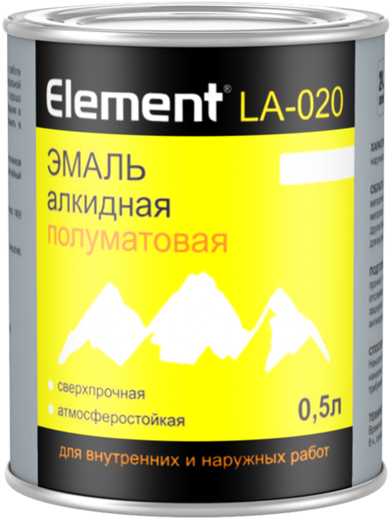 Alpa Element LA-020 эмаль алкидная полуматовая сверхпрочная атмосферостойкая (1.8 л) белая