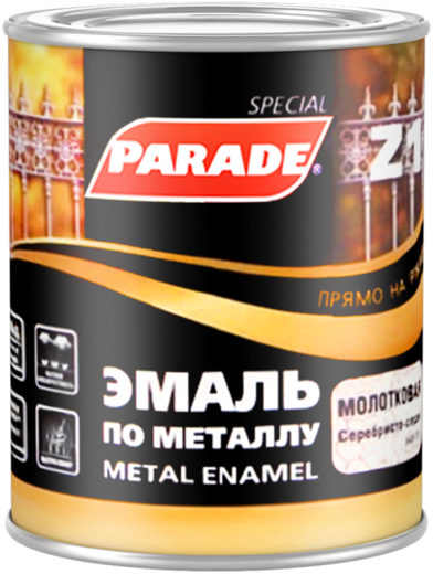 Parade Z1 Metal Enamel эмаль по металлу прямо на ржавчину (2.5 л) черная гладкая (Россия)