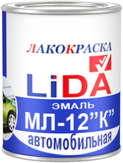 Лакокраска Lida МЛ-12 К эмаль для окраски автомобилей (45 кг) вишневая