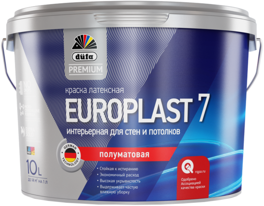 Dufa Premium Europlast 7 полуматовая латексная интерьерная краска для стен и потолков водно-дисперсионная