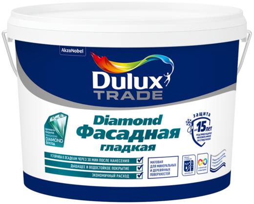Dulux Trade Diamond Фасадная Гладкая матовая водно-дисперсионная краска для фасадных поверхностей (10 л) белая