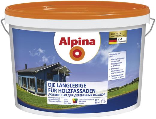 Краска Alpina Die langlebige fur holzfassaden долговечная для деревянных фасадов 2.35 л бесцветная