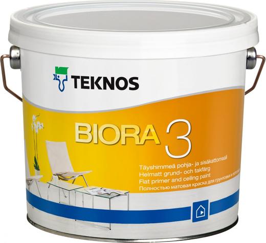 Текнос Biora 3 полностью матовая грунтовка и краска для потолков (2.7 л) белая