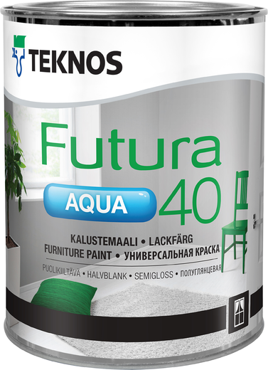 Текнос Futura Aqua 40 полуглянцевая универсальная краска (900 мл) белая