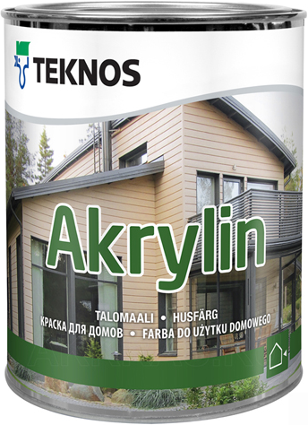 Текнос Akrylin краска для домов (900 мл) белая