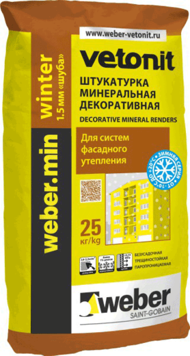 Вебер.Min Winter штукатурка минеральная декоративная