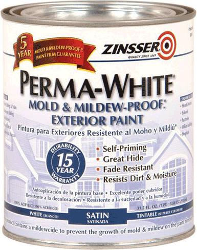 Rust-Oleum Zinsser Perma-White Exterior Paint краска для наружных работ (946 мл) белая матовая