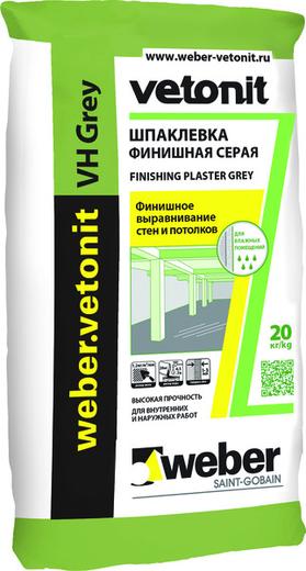 Вебер Ветонит VH Grey шпаклевка финишная серая водостойкая на цементной основе (20 кг)